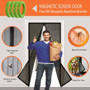 Calish Magnetic Screen Door with Heavy Duty Mesh Curtain and Full Frame Velcro, Easy Installation, No Gap, Fits Door Size up to 90 x 210cm with Highly Effective Mosquito Repellent Bands Pack of 4